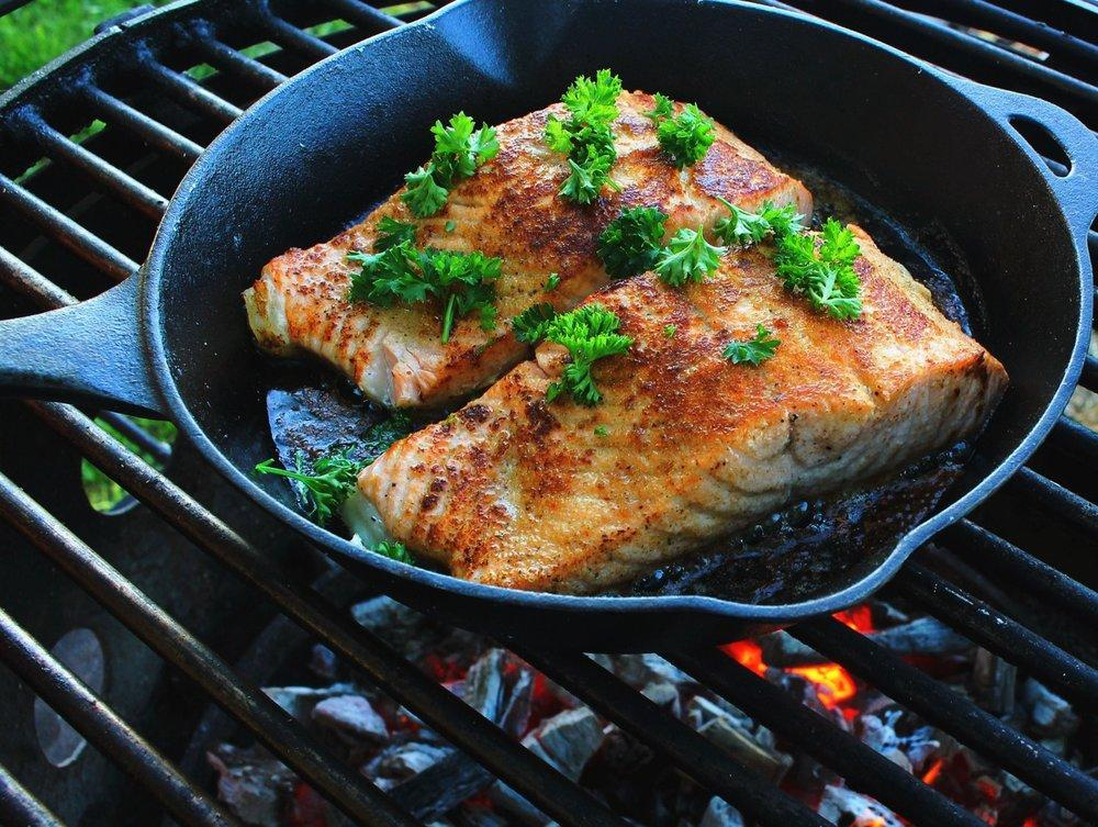 salmon on the skillet