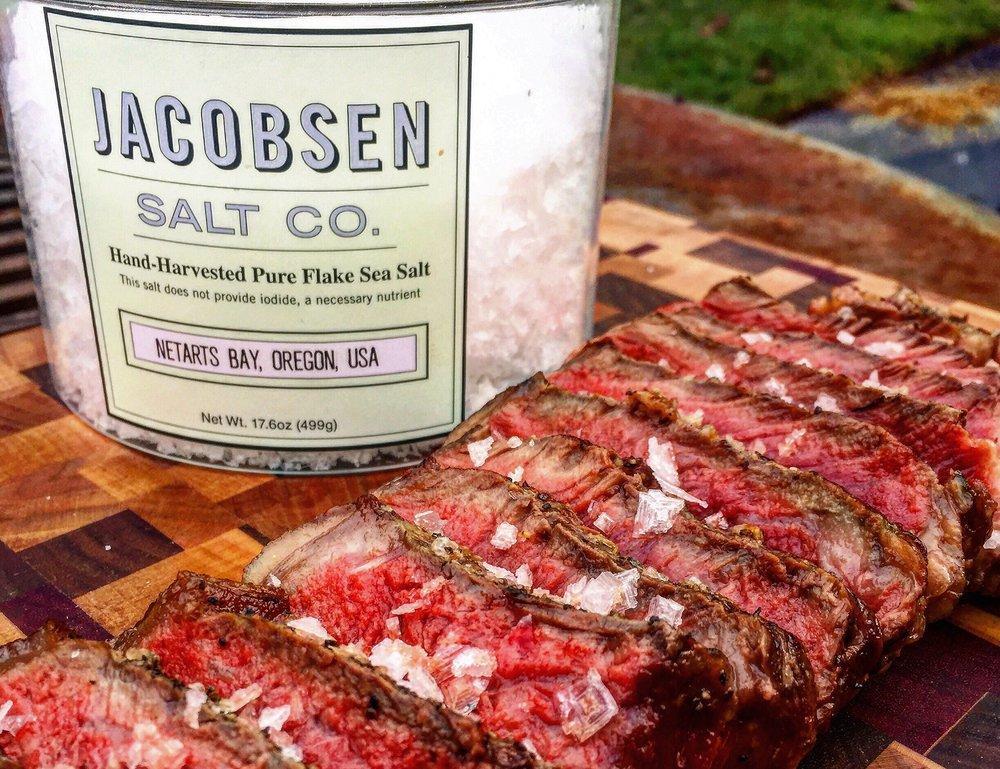 quality salt on steak