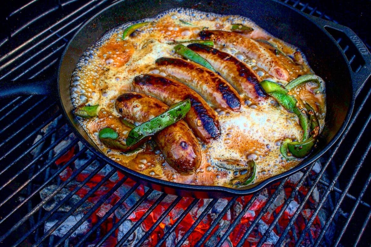beer brats in skillet