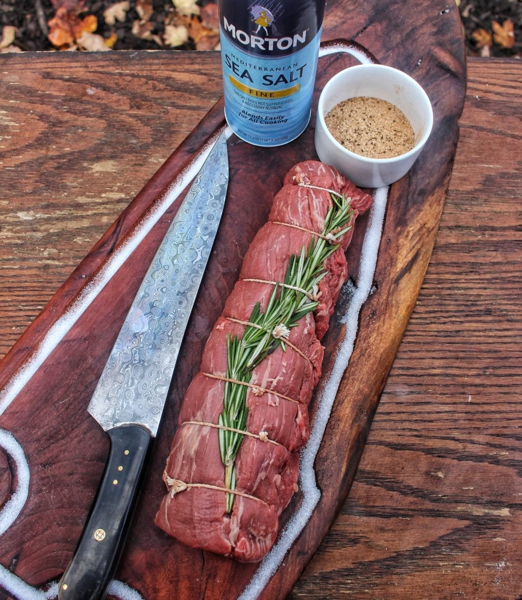 Chef knife with beef tenderloin