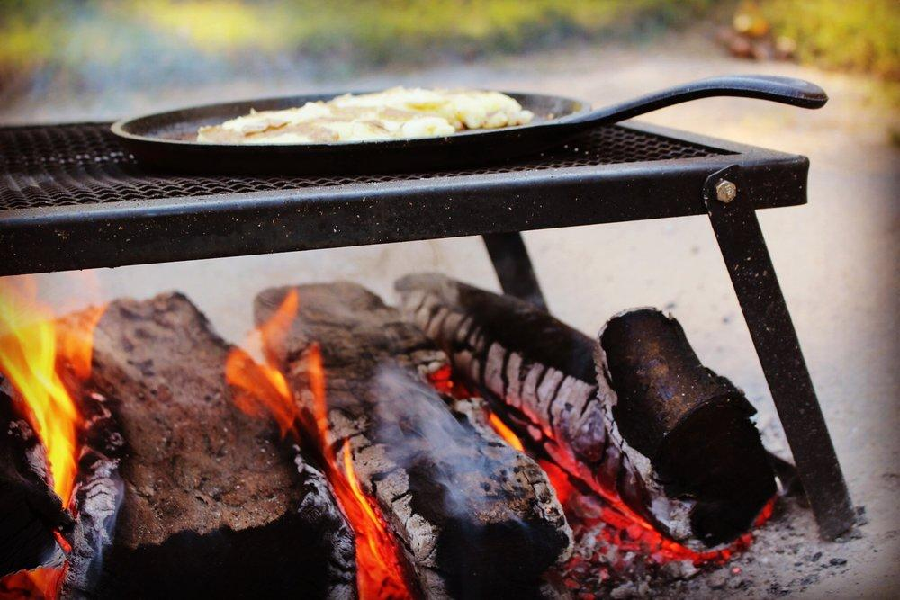 skillet over the open fire