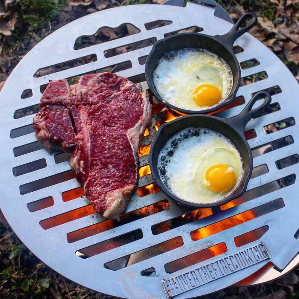 steak and campfire eggs