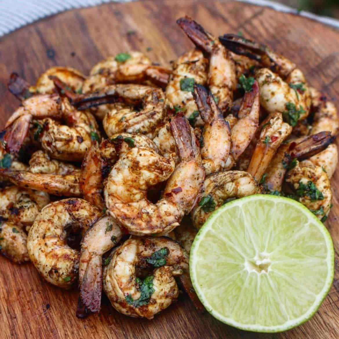 Chile lime shrimp ready to eat