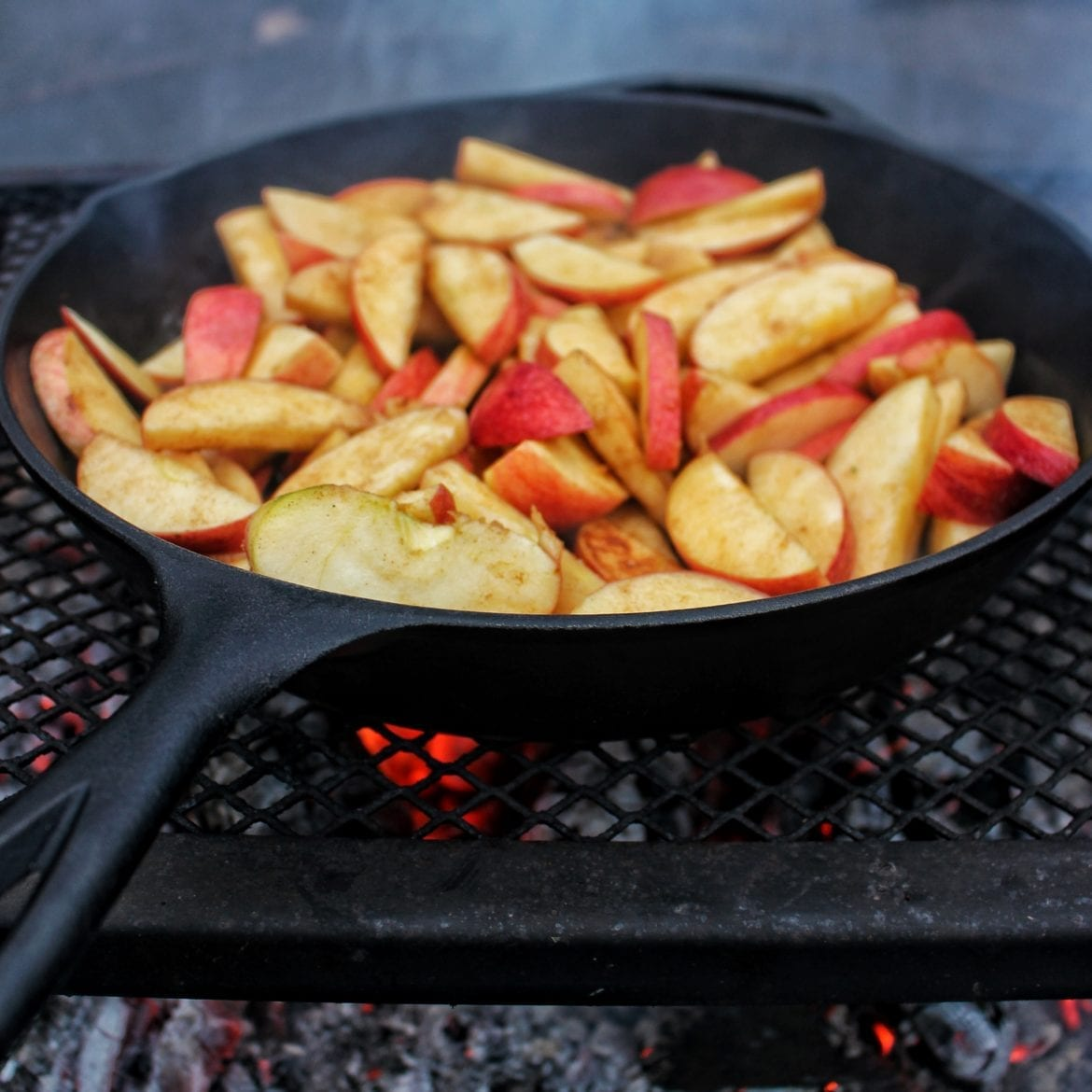Apples sautéing over the fire