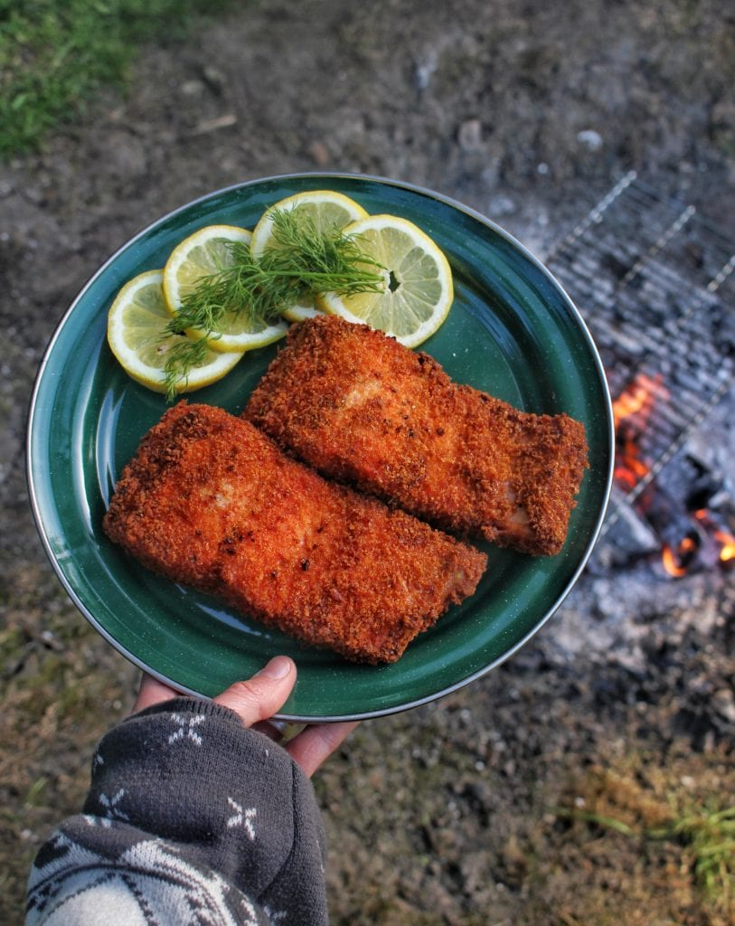 Panko fried wild salmon ready to eat.