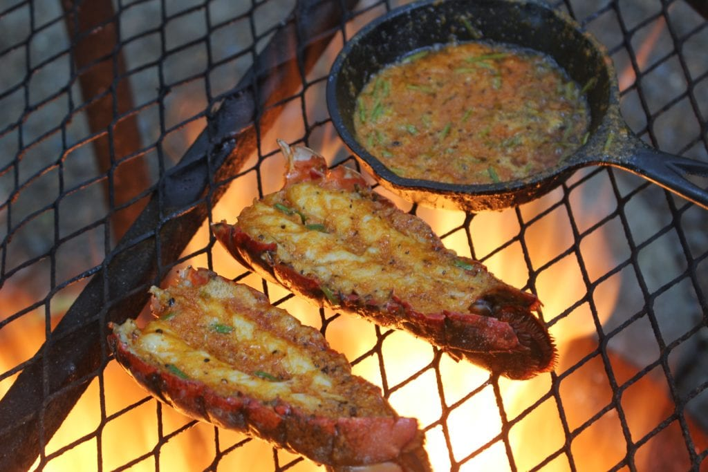 lobster and butter over the fire