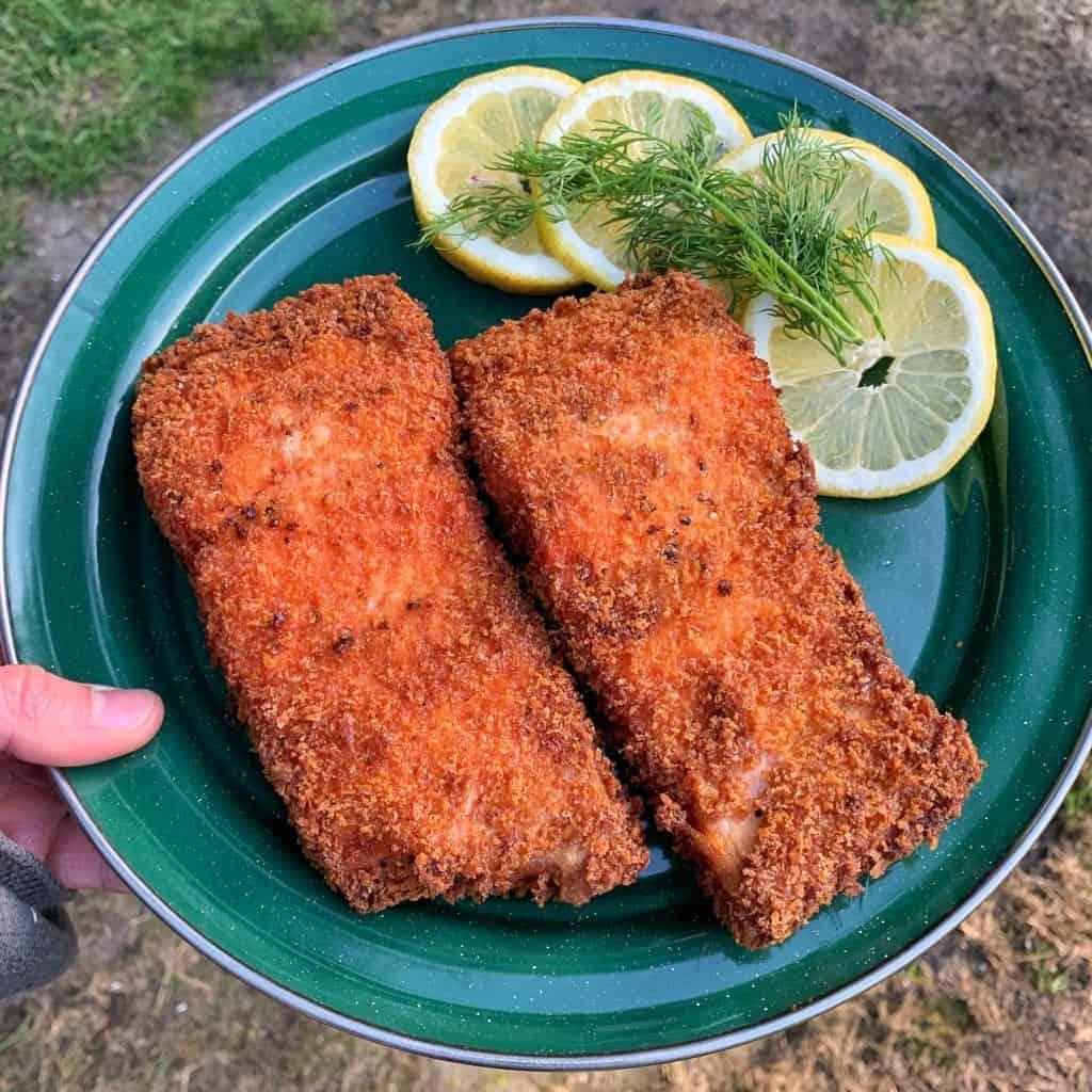 time to eat panko fried wild salmon