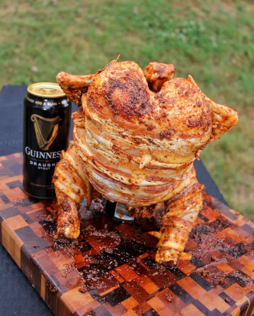 Guinness and Bacon Beer Can Chicken
