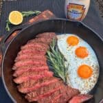 mayonnaise marinated steak and eggs