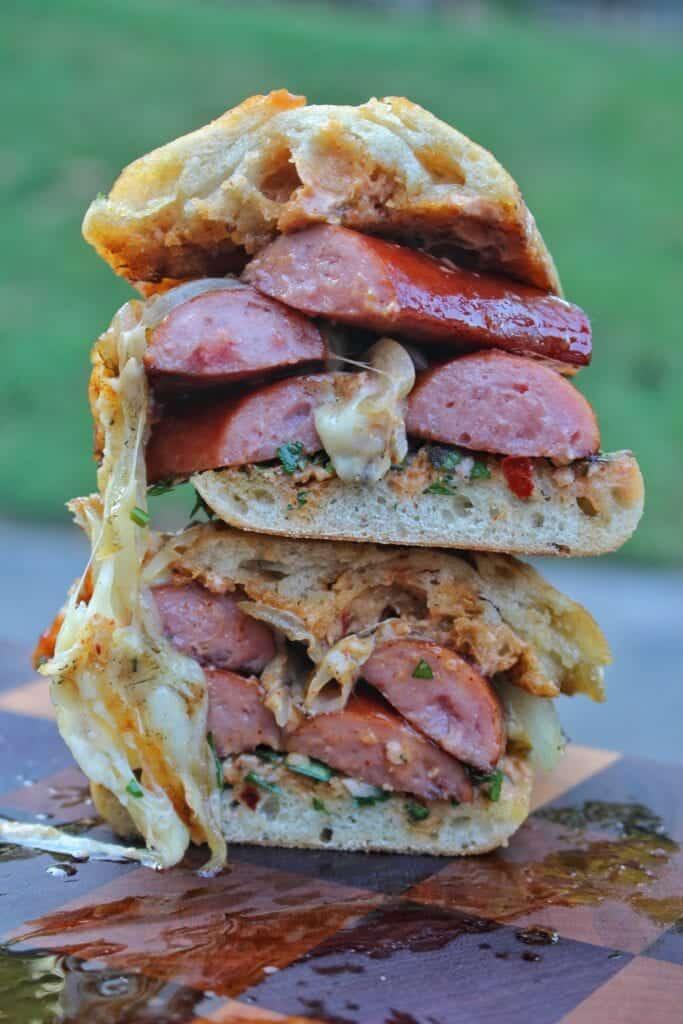 smoked sausage chimichurri sandwich