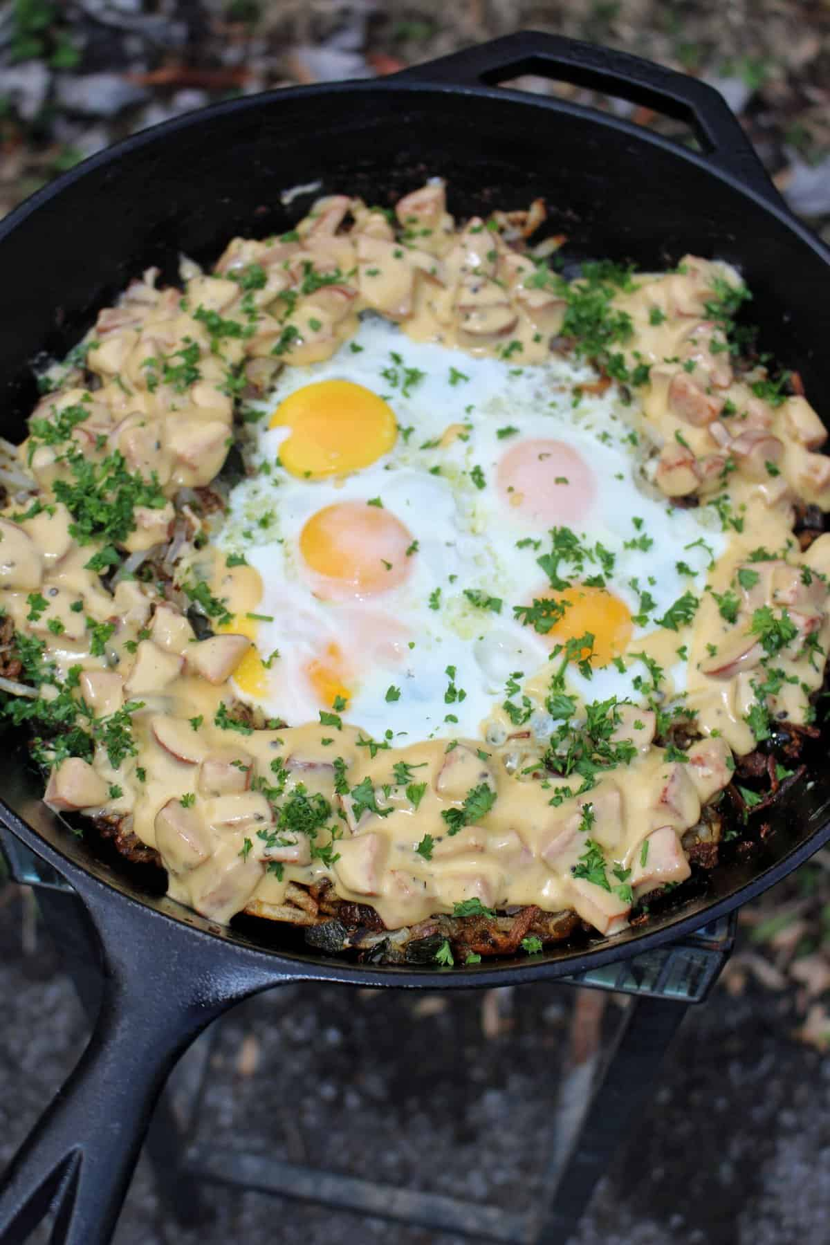 Smoked Sausage Cheesy Breakfast Skillet