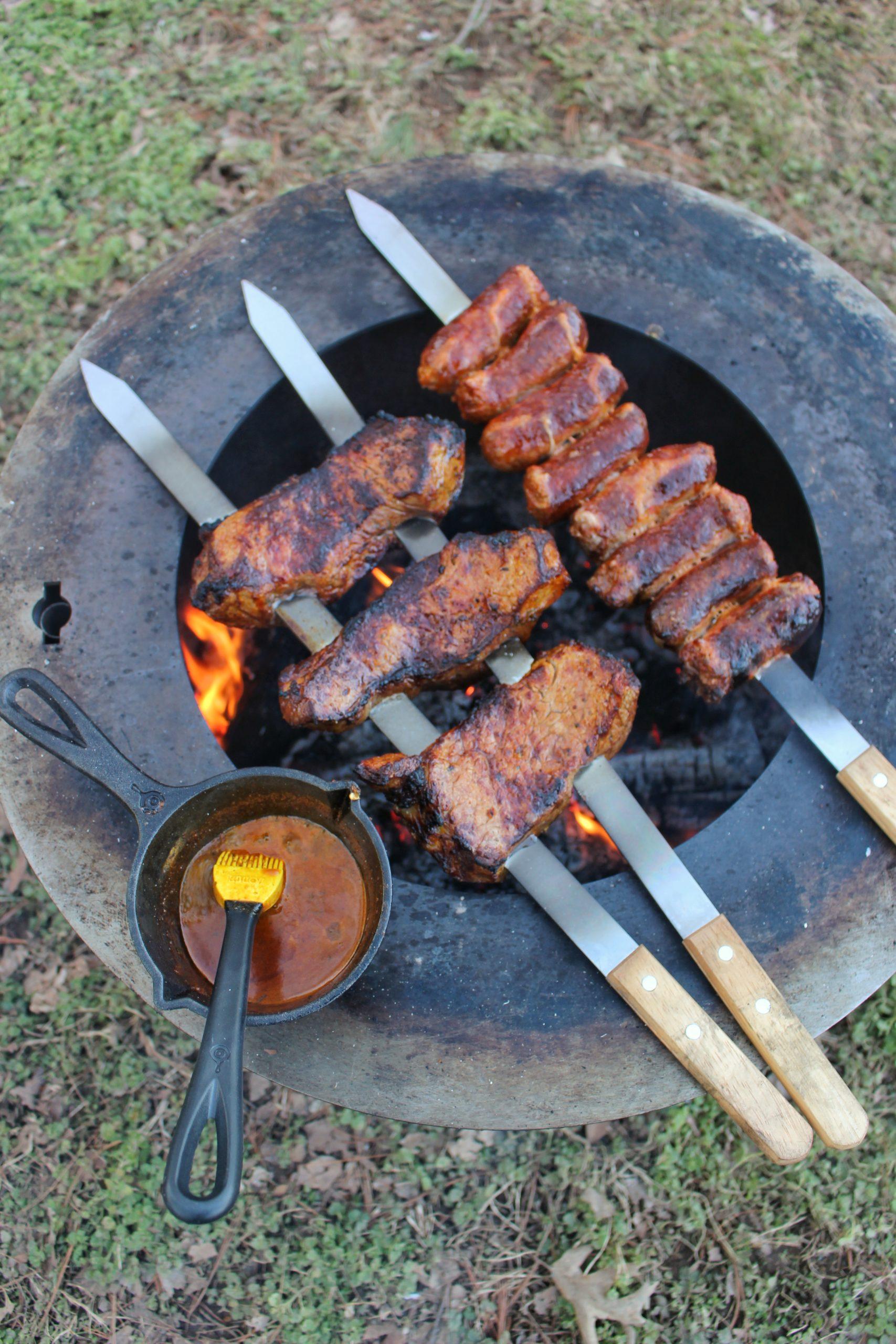 steak and chorizo on a good fire pit like Breeo