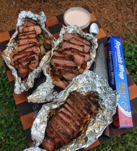 steak with veggie packet