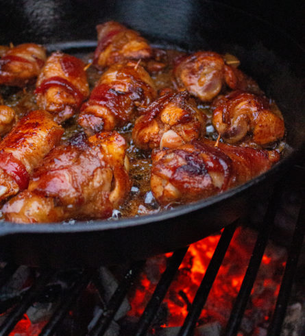 maple chili bacon wrapped chicken wings