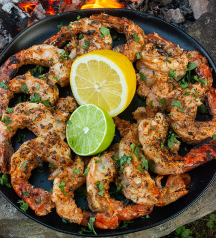 grilled tandoori citrus shrimp