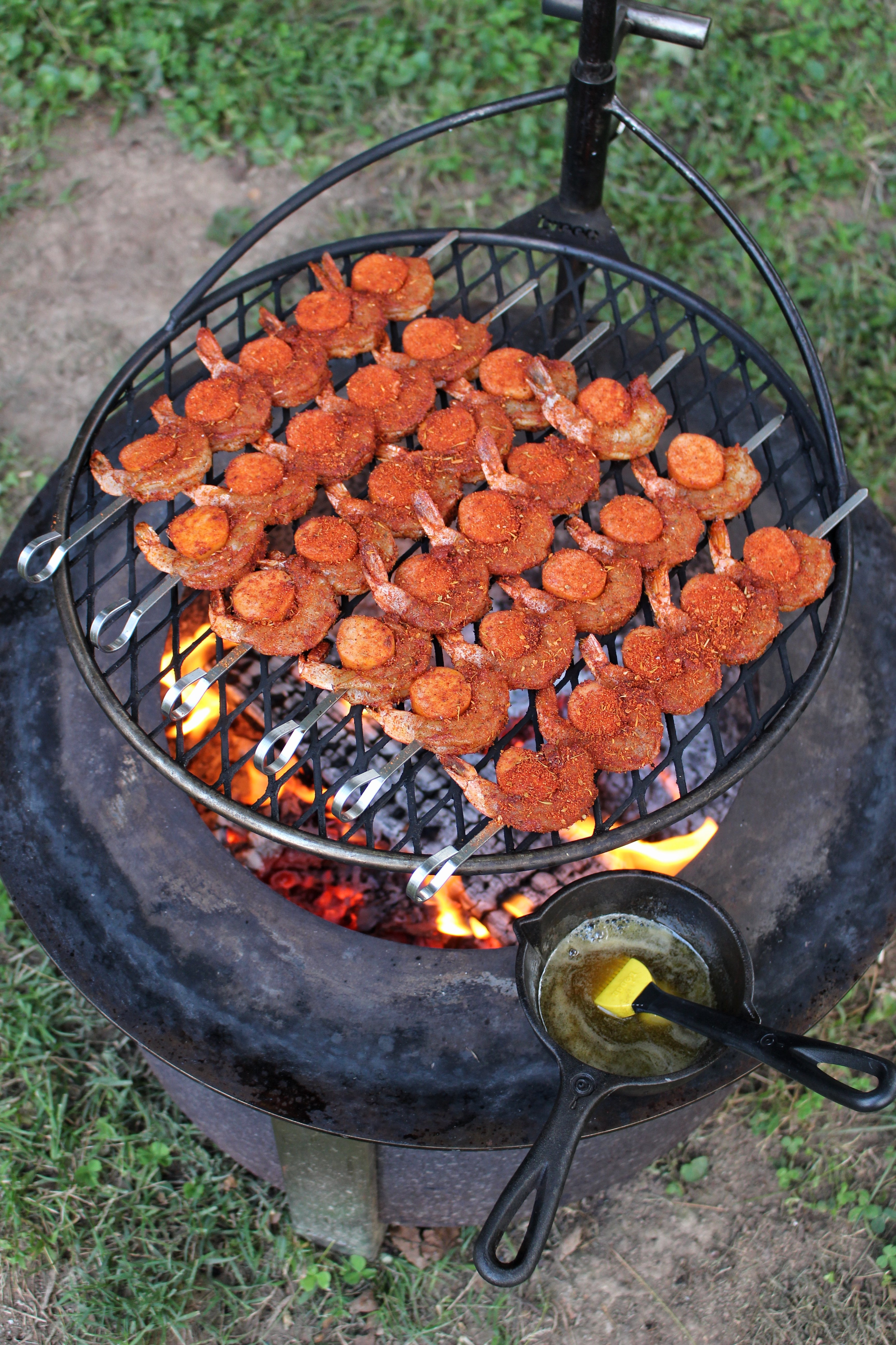 honey cajun shrimp and sausage skewers