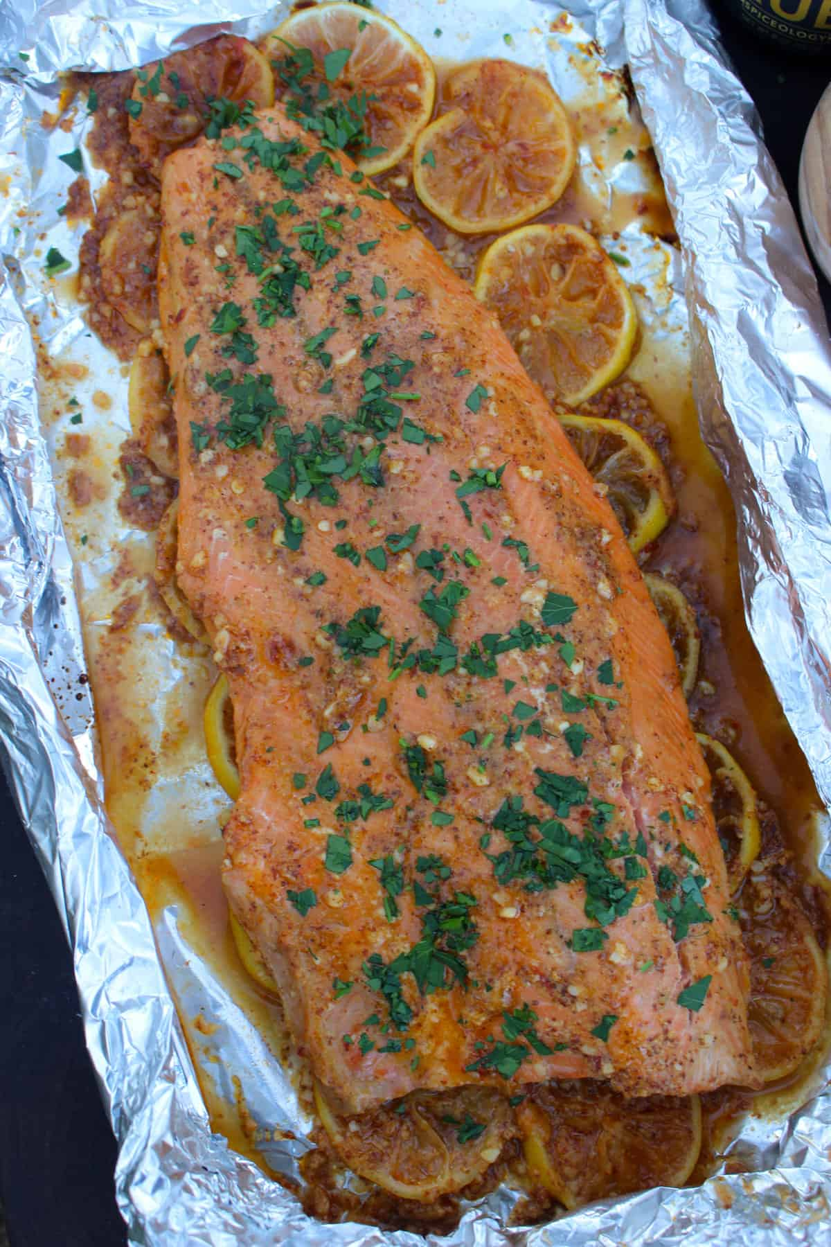 honey mustard and chili baked salmon