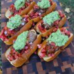 cheesy bacon wrapped chorizo dogs