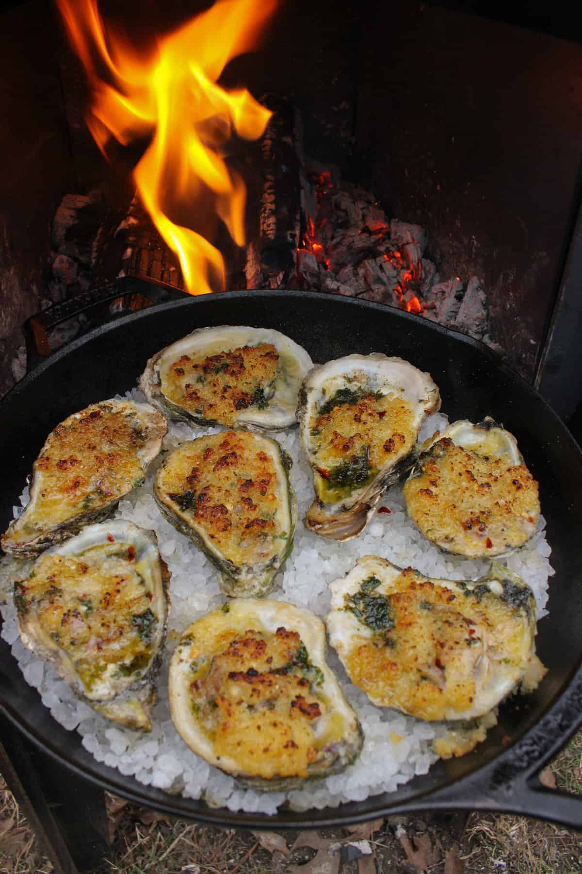 fire baked oysters