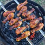 spicy mezcal drumstick skewers