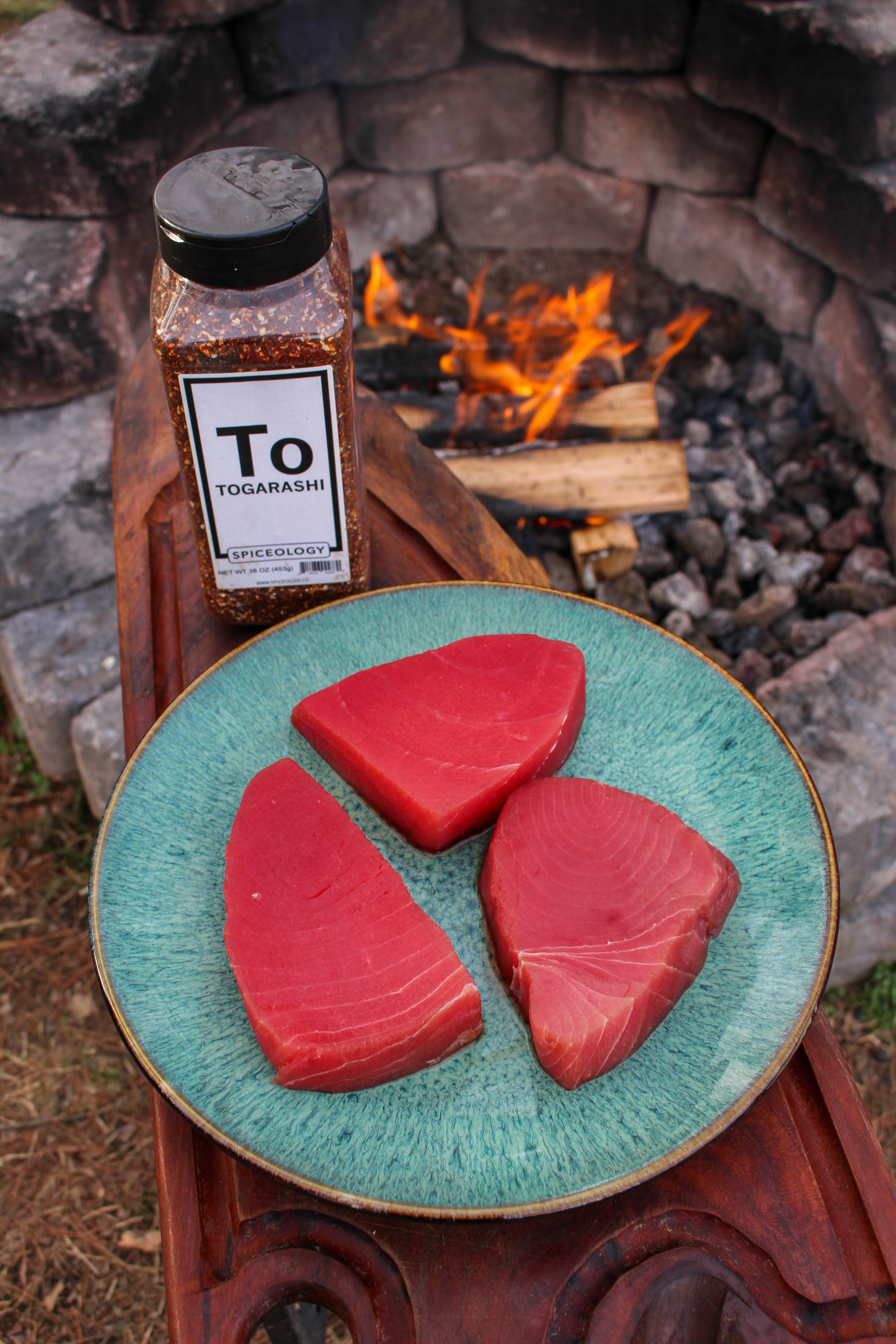 ogarashi Seared Tuna with Wasabi Avocado Sauce