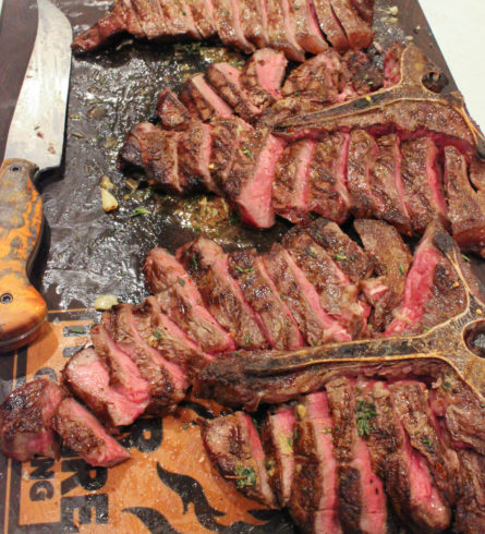 grilled steaks with board sauce