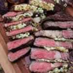 buffalo and blue cheese crusted ribeyes