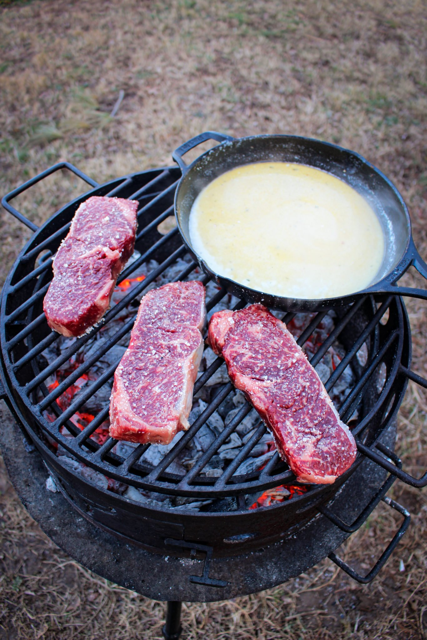 Grilled Steaks and Creamy Chipotle Shrimp
