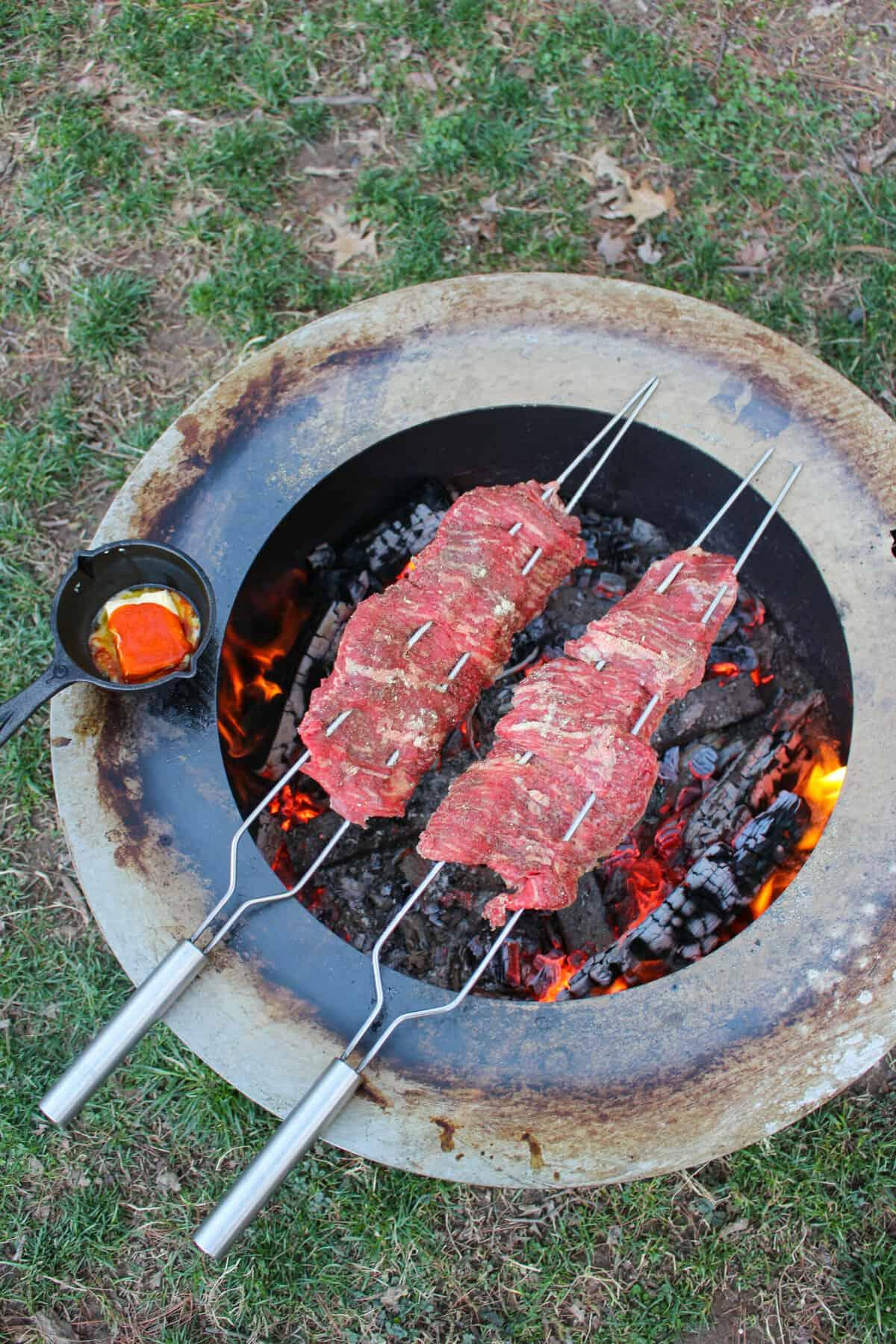 Cheesy Skewered Skirt Steak with Salsa Verde