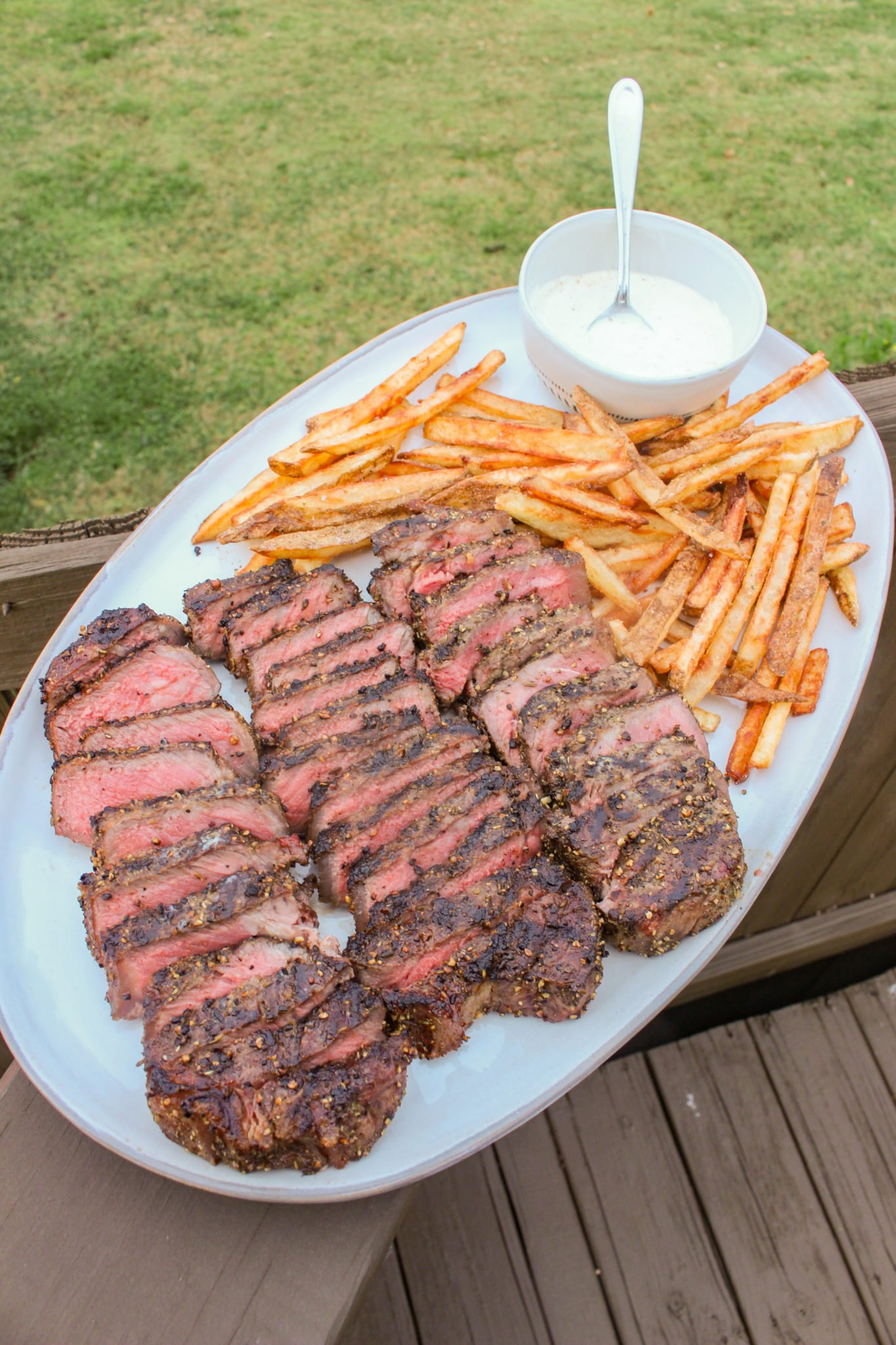 Peppercorn Herb Steak and Fries