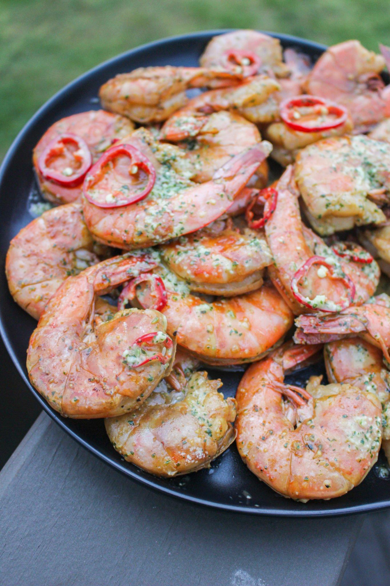 Grilled Shrimp with Garlic Chile Vinaigrette