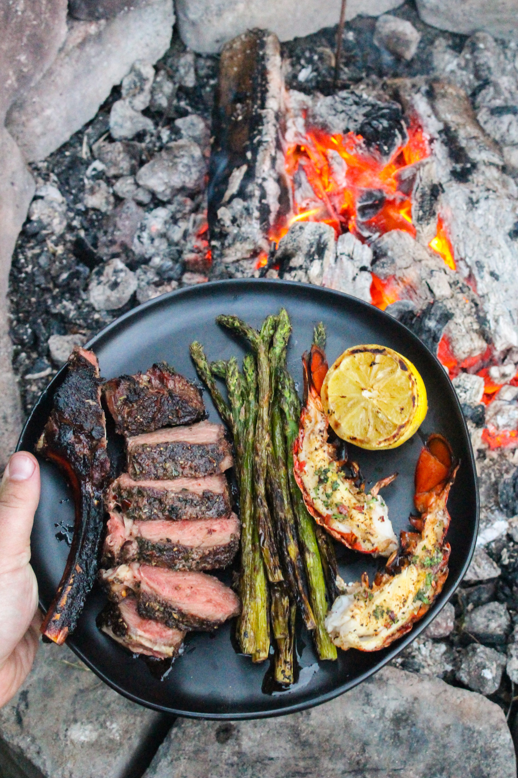 Bison Ribeye and Lobster Tails