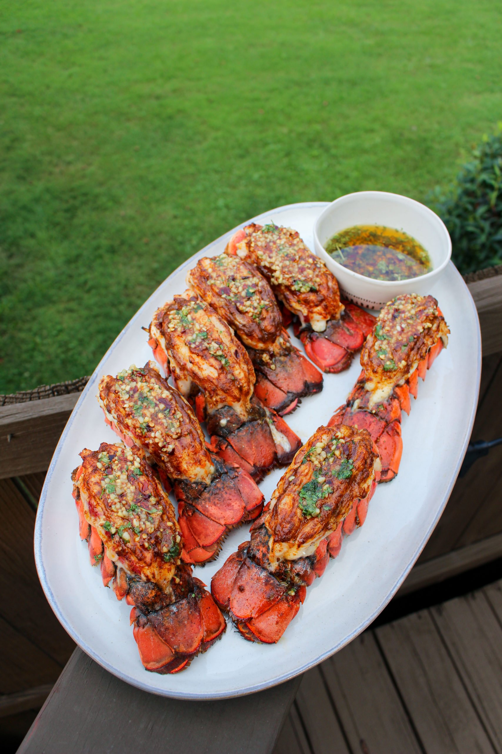 Smoked Lobster Tails with Spicy Garlic Butter