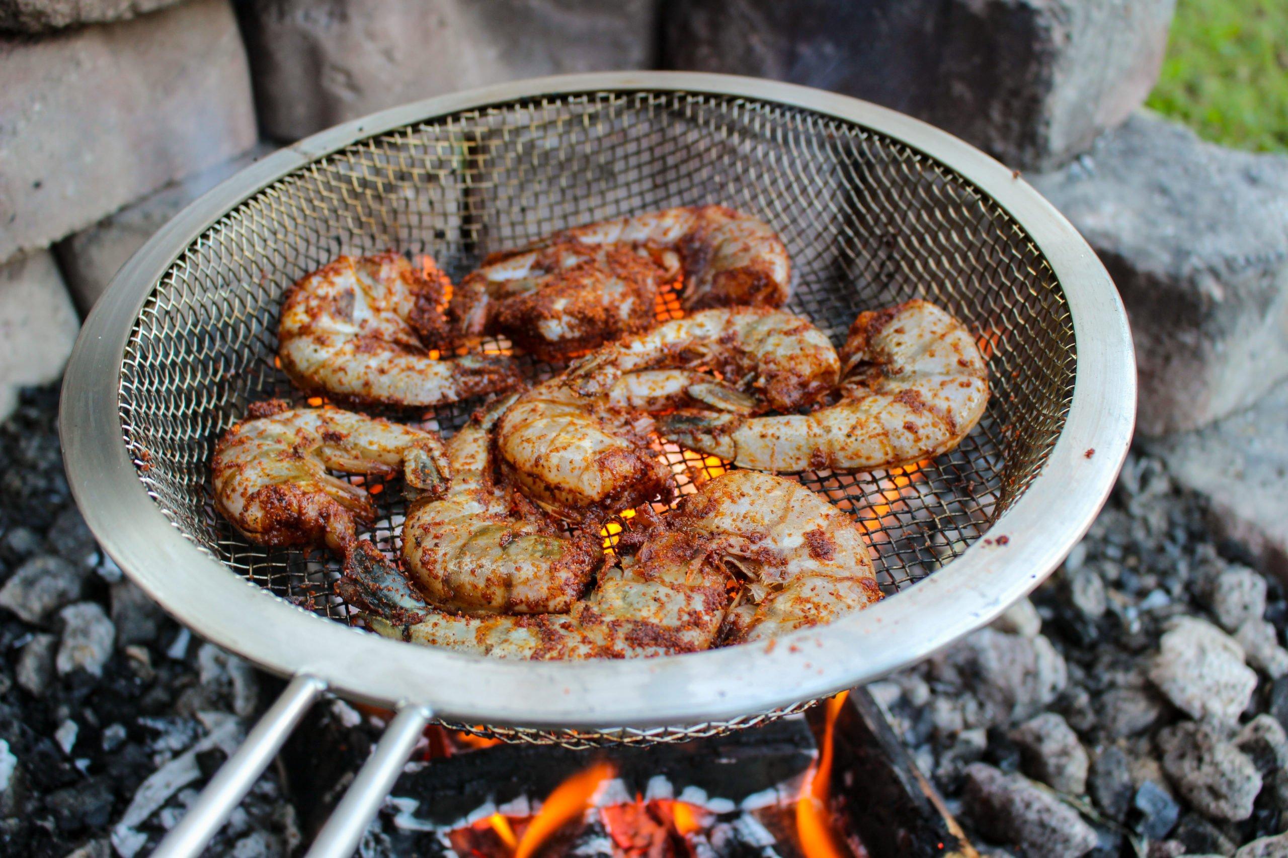 Nashville Hot Grilled Shrimp over the coals.