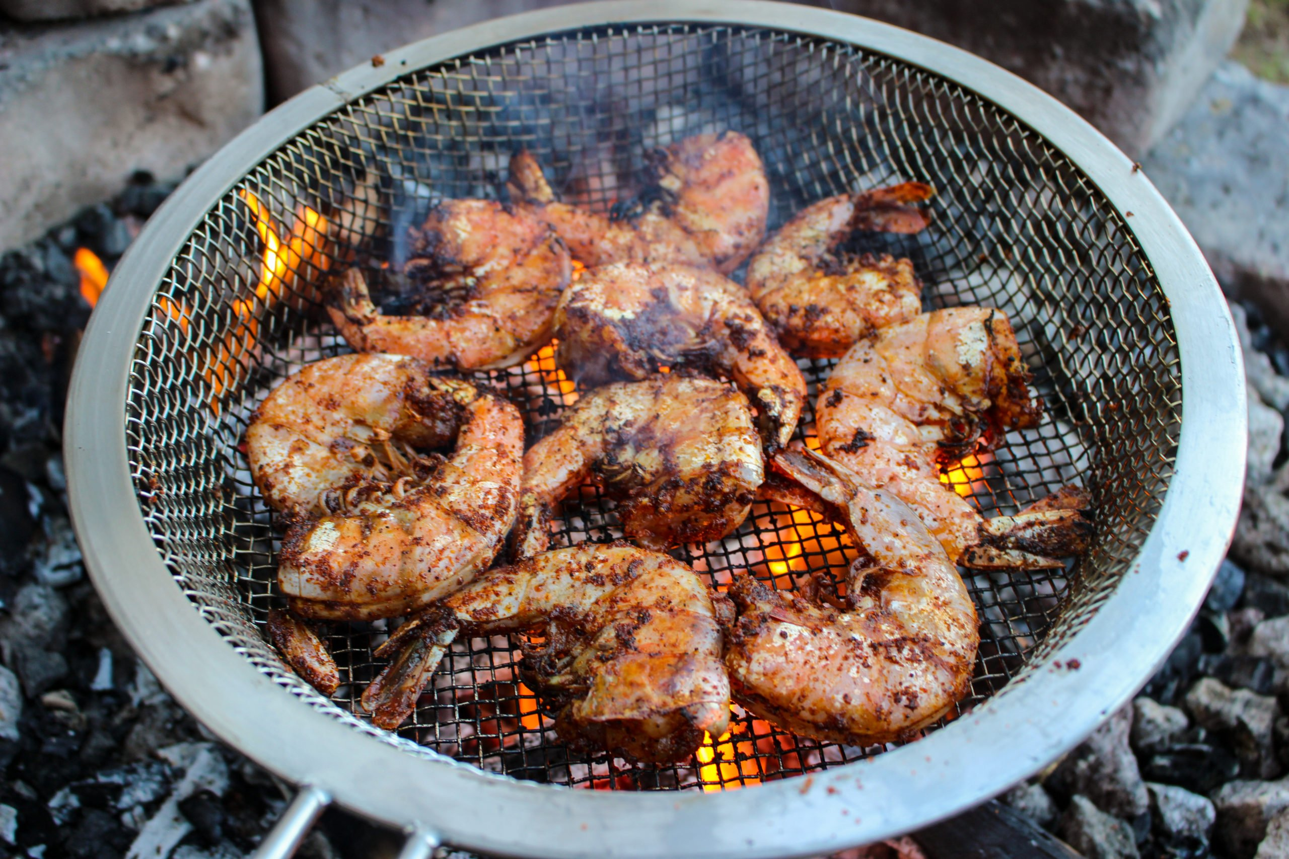 Nashville Hot Grilled Shrimp flipped and almost done cooking.