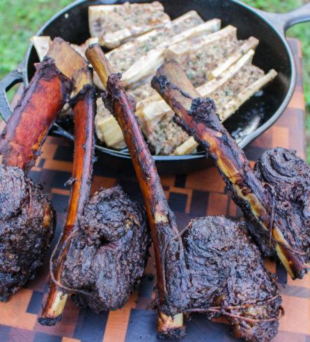 Tomahawk Beef Short Ribs with bone marrow plated.