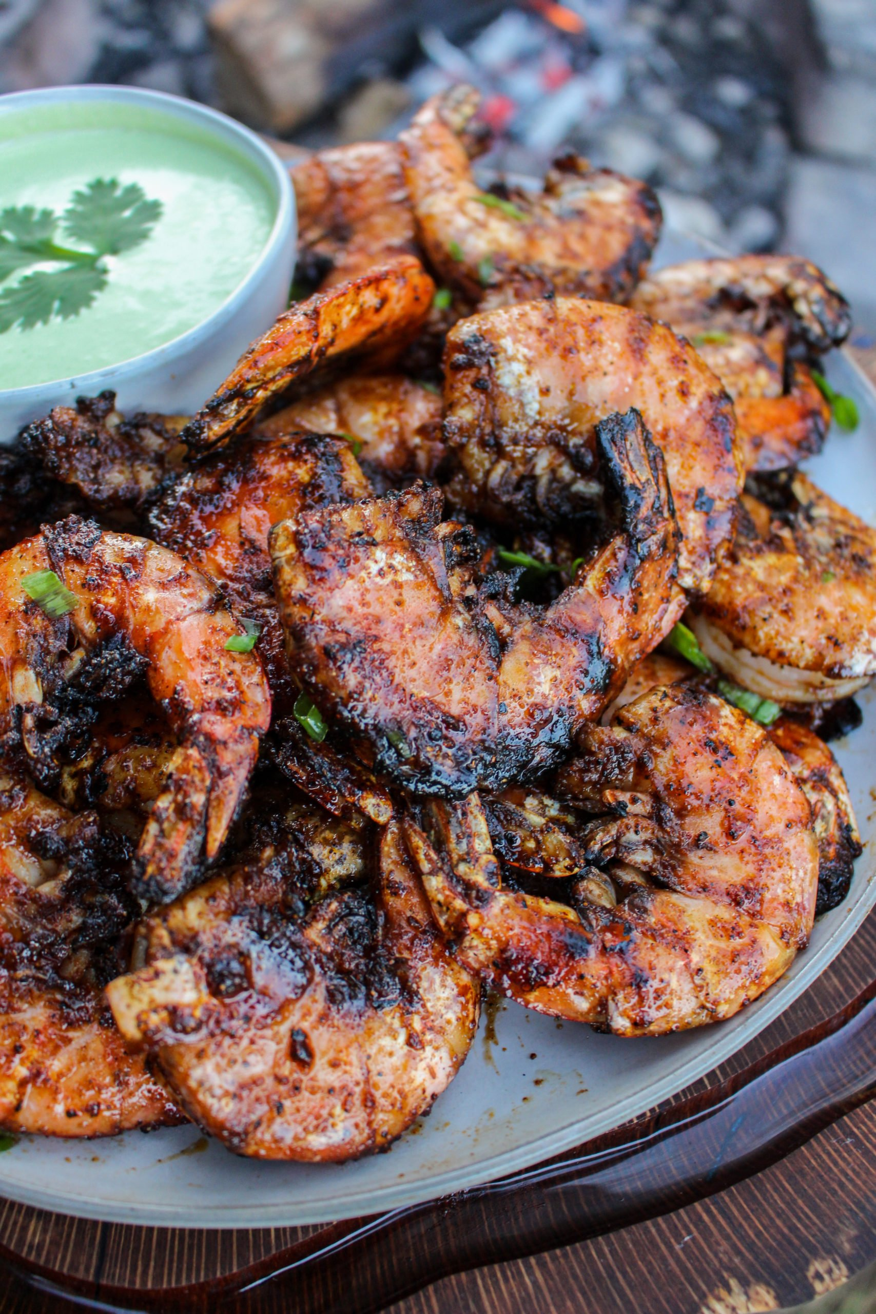Nashville Hot Grilled Shrimp close up.