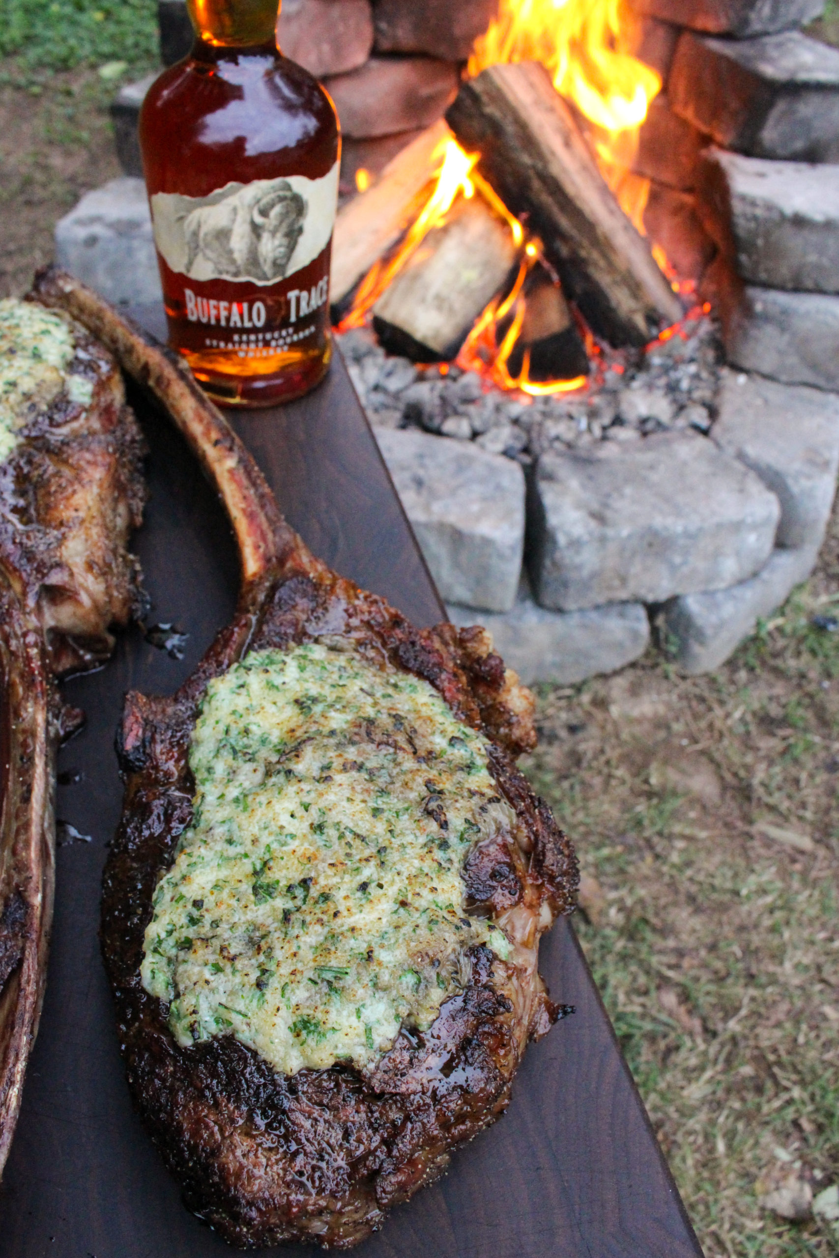 Tomahawk Steaks with French Onion Crust with Buffalo Trace.