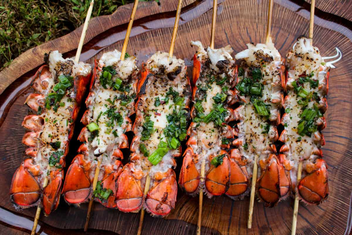Lobster Skewers with Bang Bang Sauce plated and served.